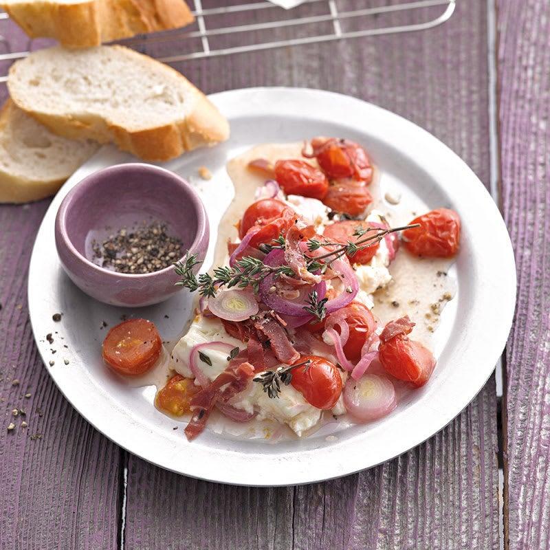 Foto Tomaten-Schafskäse-Päckchen mit Serranoschinken von WW