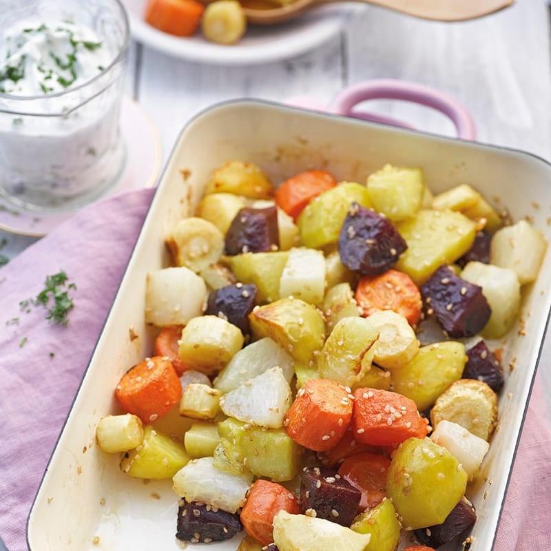 Foto Geröstetes Ofengemüse mit Sesam und Dip von WW