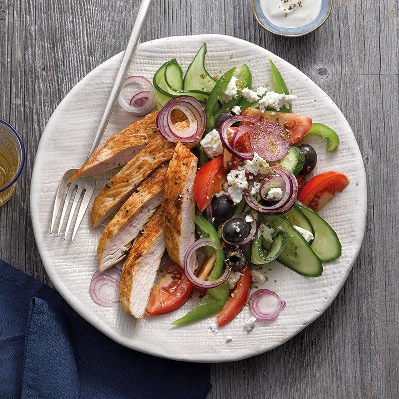 Foto Griechischer Salat mit Putenschnitzel von WW