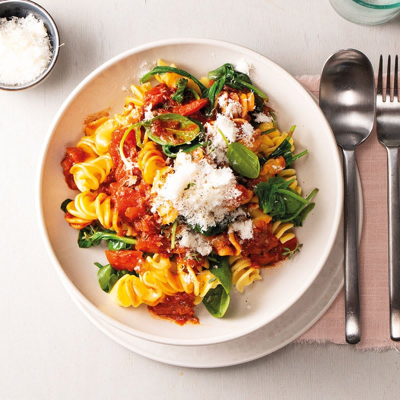 Foto Fusilloni in Spinat-Tomaten-Sauce von WW