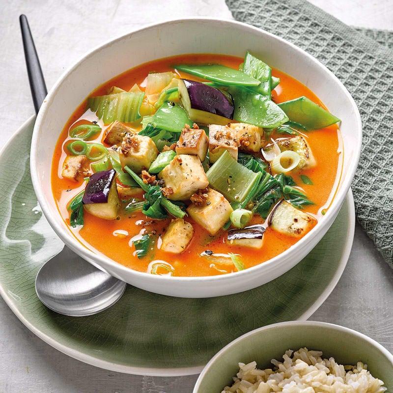 Foto Thaicurry mit gebackenem Tofu und Reis von WW