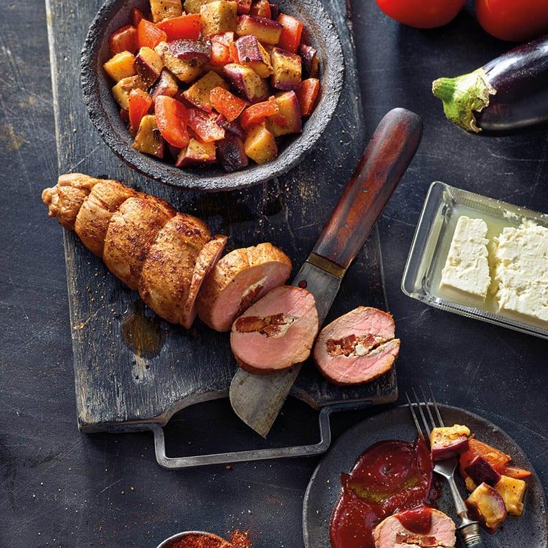 Foto Gefülltes BBQ-Schweinefilet auf Gemüse von WW