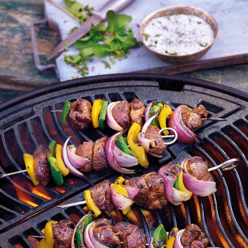 Foto Beef-Gemüse-Kebabs mit Minzsauce von WW