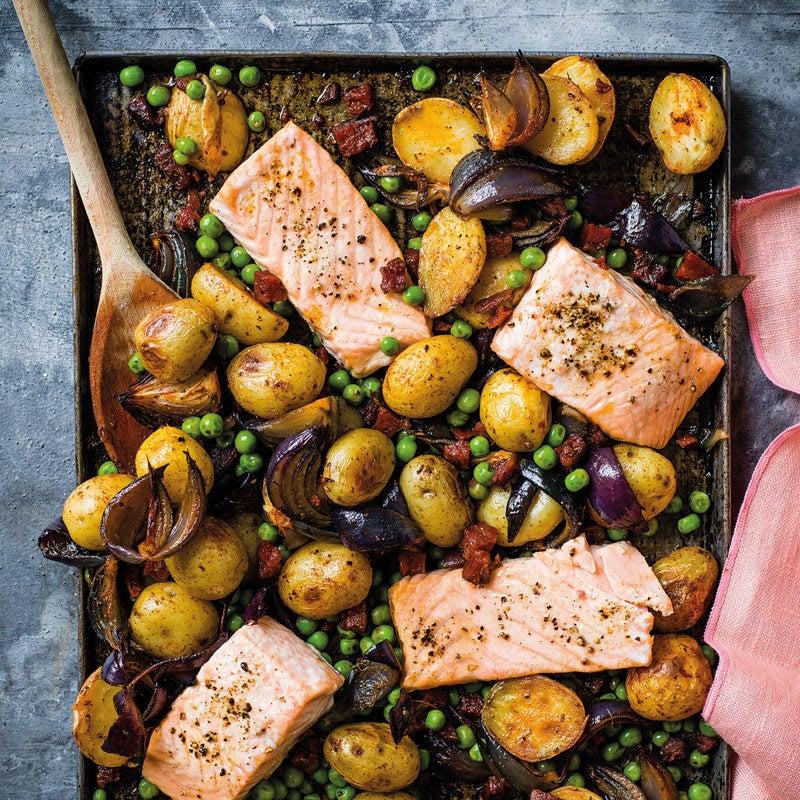 Foto Gerösteter Lachs mit Erbsen und Chorizo von WW