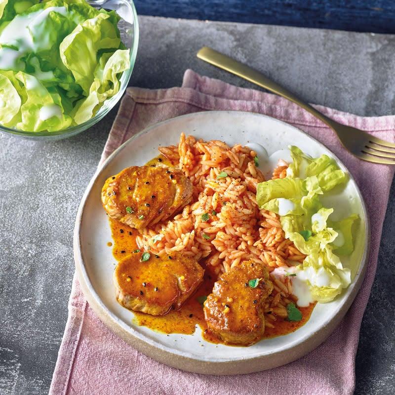 Foto Curry-Orangen-Filet mit Tomatennudeln von WW