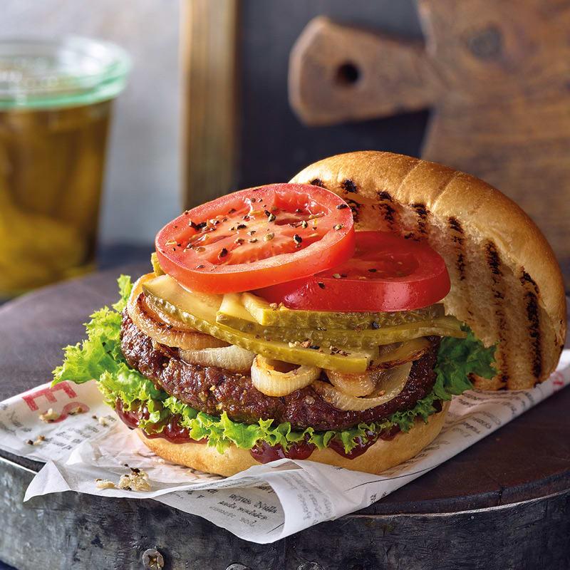 Foto Würziger Burger mit Schmorzwiebeln von WW