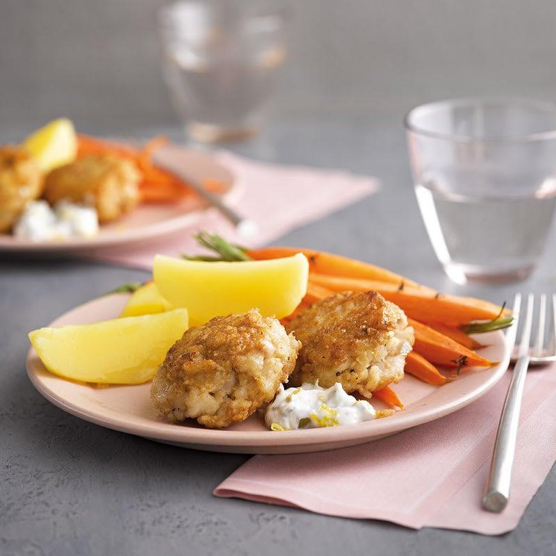 Foto Fischfrikadellen mit Zitronenremoulade und Ofenkarotten von WW