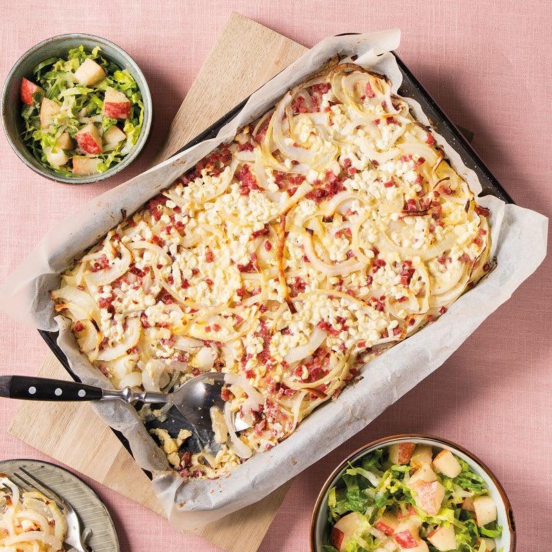 Foto Elsässer Zwiebel-Kartoffel-Blech mit Romana-Birnen-Salat von WW