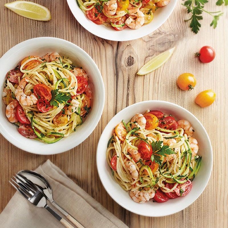 Foto Gemüsespaghetti mit Garnelen und Tomaten von WW