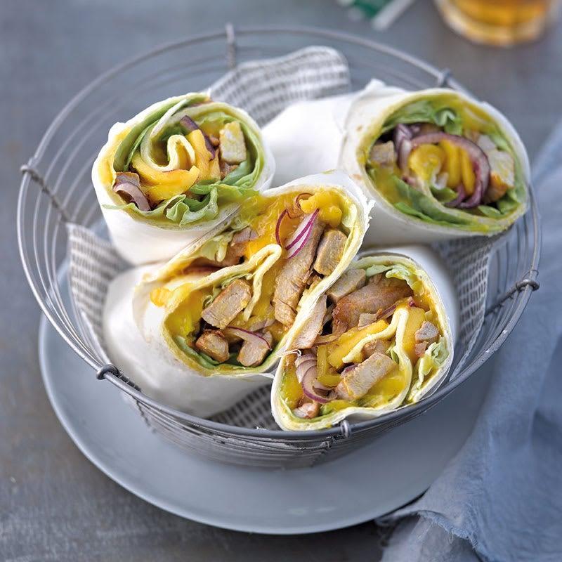 Foto Wrap mit Mango-Curry-Creme und Schweinefiletstreifen von WW