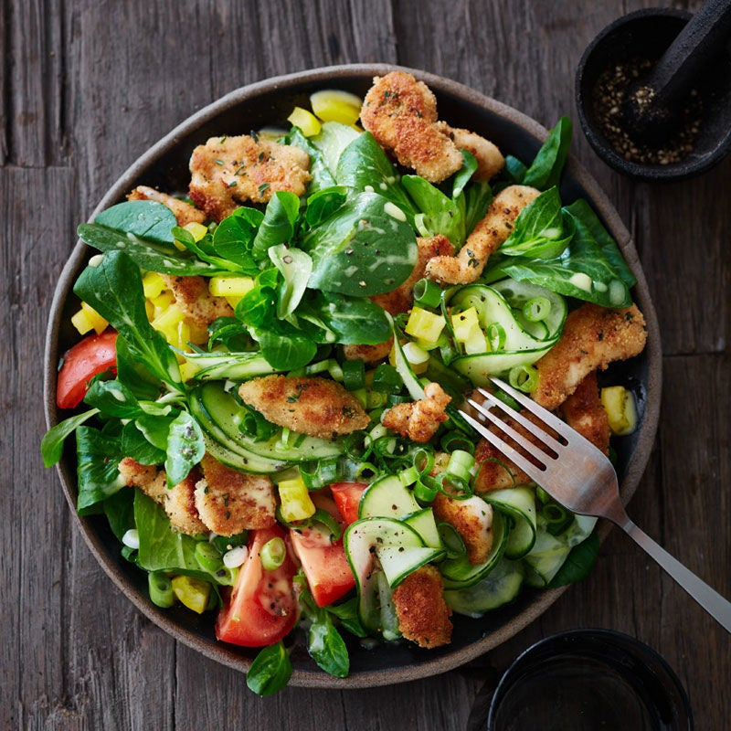 Foto Salat mit Schnitzelstreifen von WW