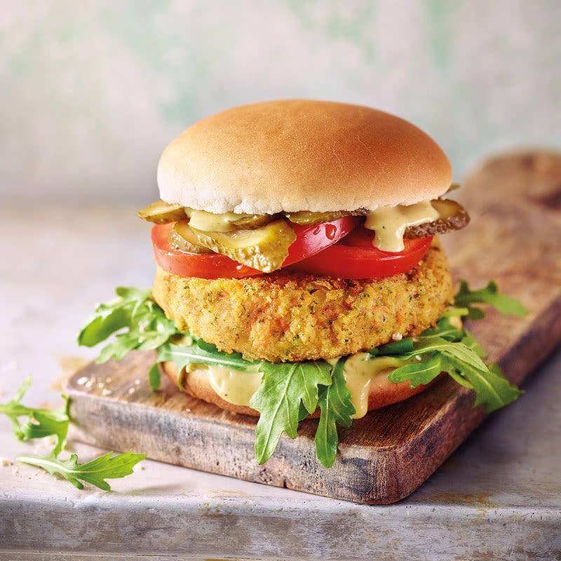 Foto Veggie-Burger mit Karotten-Kichererbsen-Patty von WW