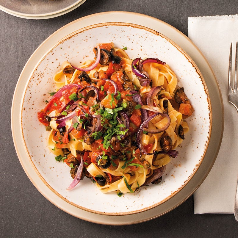 Foto Tagliatelle alla puttanesca vegetariana von WW
