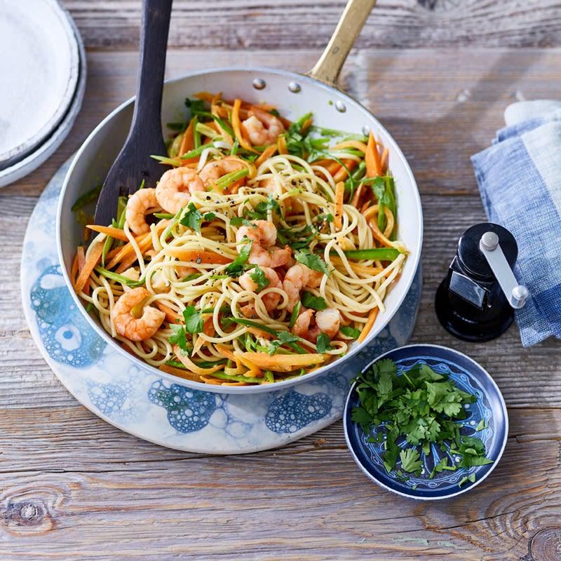 Foto Spaghetti mit Garnelen und Zuckerschoten von WW