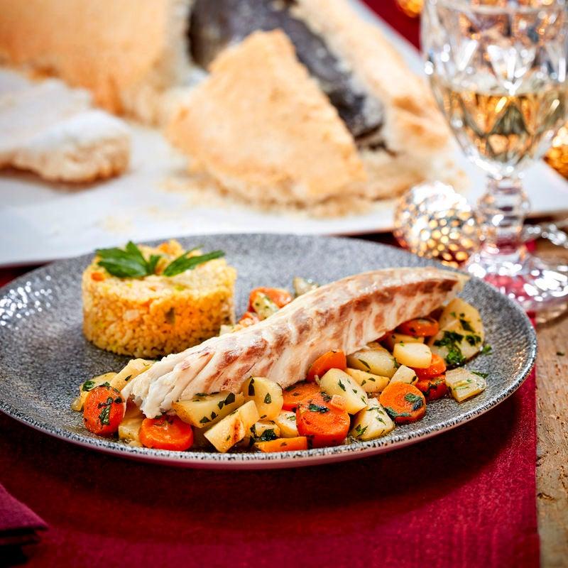Foto Fisch in der Salzkruste mit Wurzelgemüse und Lebkuchenbulgur von WW