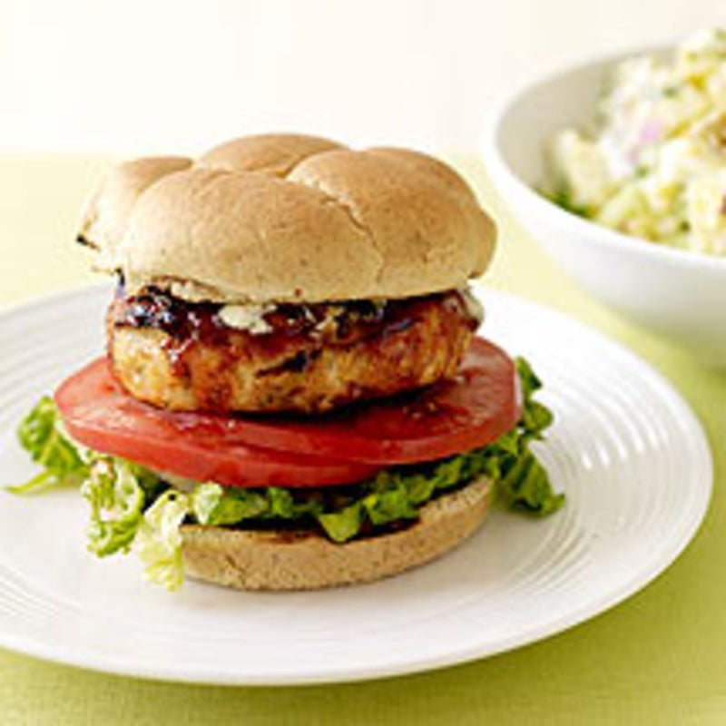 Foto Chicken-Burger mit Blauschimmelkäse von WW
