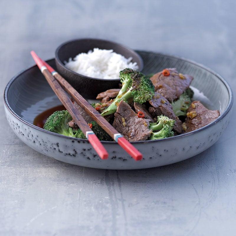 Foto Teriyaki-Rind mit Reis und Broccoli von WW