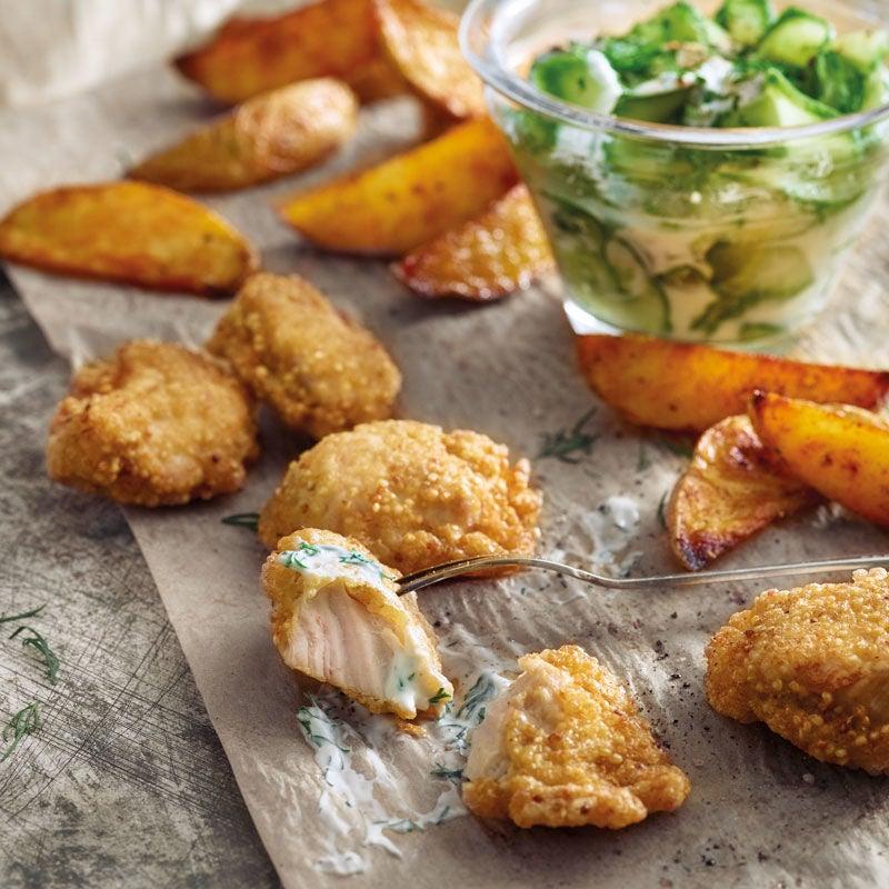 Foto Puten Nuggets mit Quinoa-Kruste und Kartoffelspalten von WW