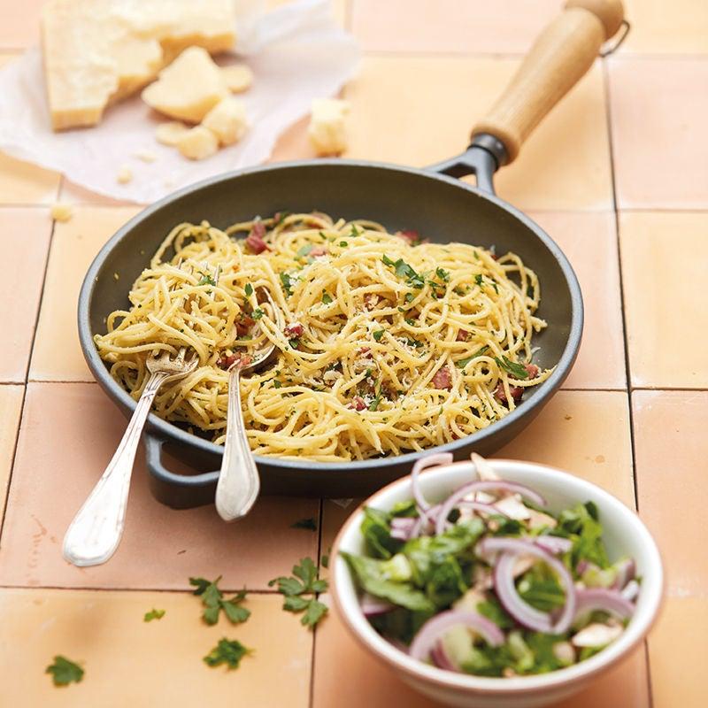 Foto Spaghetti Carbonara mit Römersalat von WW