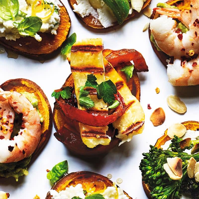 Foto Süßkartoffel-Canapés mit Paprika & Halloumi von WW