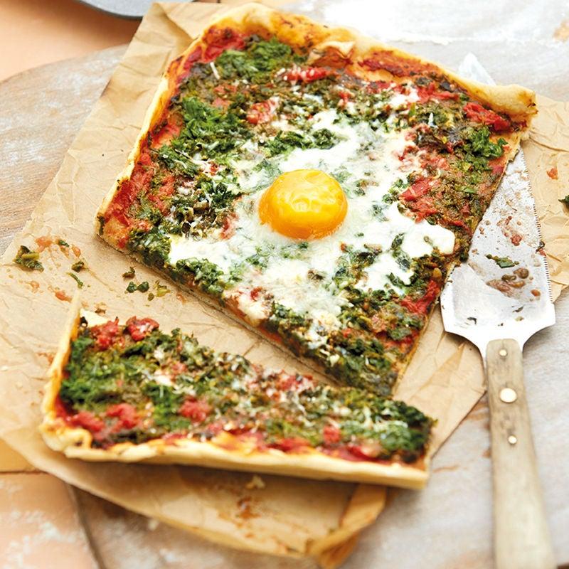 Foto Pizza mit Spinat und Ei von WW