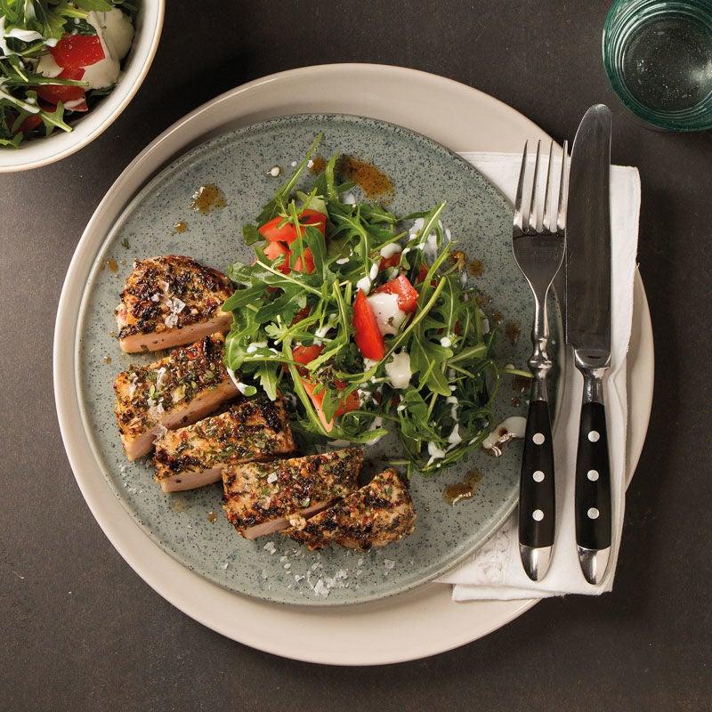 Foto Steaks im Bruschettamantel mit Tomaten-Rucola-Salat von WW