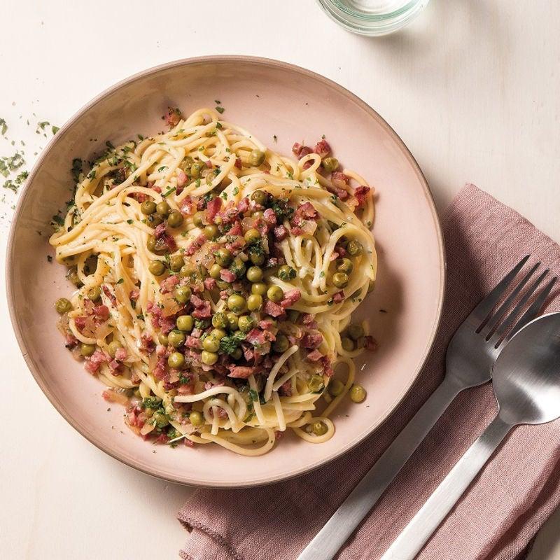 Foto Spaghetti Carbonara mit Erbsen von WW