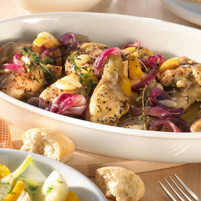 Foto Zitronenhuhn mit Knoblauch und Fenchel-Orangen-Salat von WW