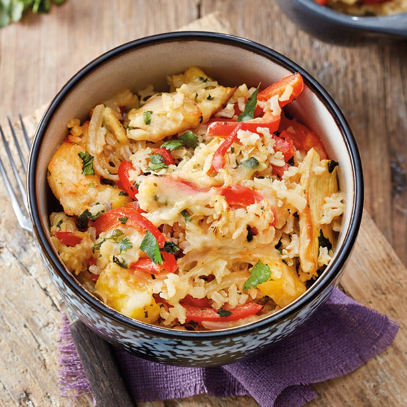 Foto Fruchtiger Hähnchen-Curry-Auflauf mit Reis von WW